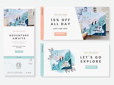 Web banners + Newsletter brand design branding graphic design illustrations pastel header newsletter ads webbanner