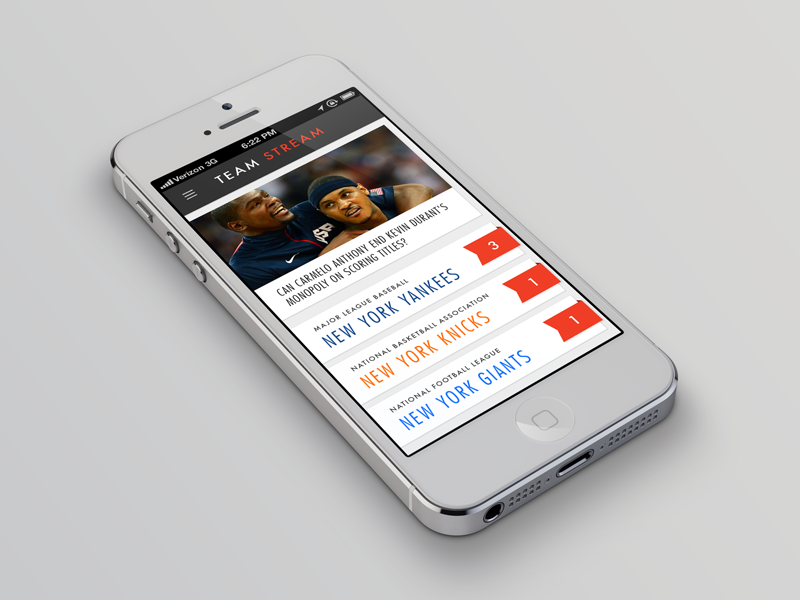 Team Stream App Concept interface phone ios app sports ribbon ui iphone mobile