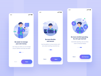Onboarding for Money Manager App finance office money management money app money friendly usability onboarding ui onboarding screen onboarding character ux gradient bright color clean clean design minimal illustration vector