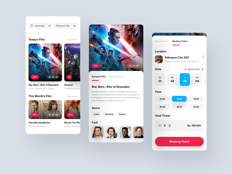 Movie Ticket Booking Application cast actors clean shadow user experience blue pink starwars booking movie app movie cinema film ux bright color ui clean design minimal
