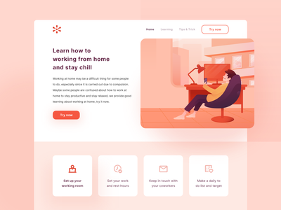 Landing Page - Working from Home orange warm chill covid19 corona working from home work wfh website character gradient ux bright color clean clean design minimal illustration vector