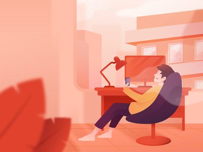 Enjoy Isolation setup relax summer warm corona covid wfh working from home work stress calm anxiety website character gradient bright color clean design minimal illustration vector