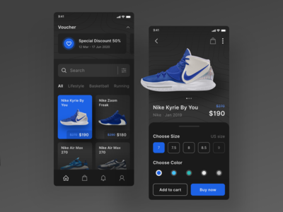 Shoes Store Online App lifestyle shadow userinterface running workout sport nike online shop blue dark mode dark app dark ui store shoes ui ux gradient bright color clean design minimal