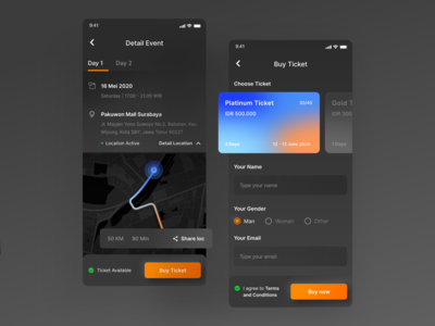 Event and Ticketing Application 👋 shadow payment price analytics dark dark ui neumorphism dashboard art card event ticket location maps ui ux gradient bright color clean design minimal