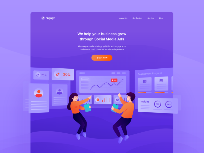 Social Media Ads Agency Landing Page engagement business digital analytics dashboad purple agency digital marketing social media landing page website ui ux clean gradient bright color vector illustration minimal clean design