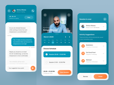Online Counseling Application psychologist meditation blue schedule chat mindfulness mental mental issue mental health counseling user experience user interface mobile app mobile gradient ui ux clean bright color clean design