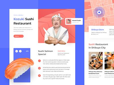 Landing Page of Kozuki Sushi Restaurant website design page japanese culture landing page maps chef japanese japanese food sushi food japan typography user interface website clean ui ux bright color minimal clean design