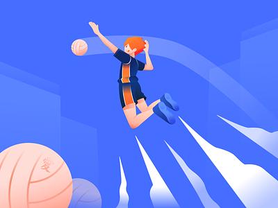 Hinata Shoyo Illustration running fit illustrations haikyu japanese art illustrator jump run sport volley japanese japan anime character gradient bright color illustration vector minimal clean design