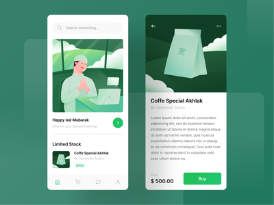 Hampers App Exploration 🍟 user interface moslem islam green mobile app app marketplace gift coffe eidmubarak eid character gradient ux ui bright color illustration vector minimal clean design