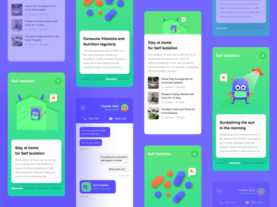 Self Isolation counseling corona vector user interface mobile app monster animation health covid isolation clean design gradient ux bright color illustration ui