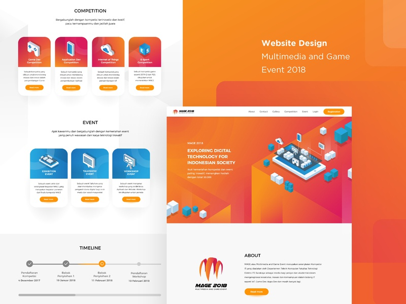Website Design for MAGE 2018 technology isometric gradient clean design website design web design website user interface uiux design vector illustration