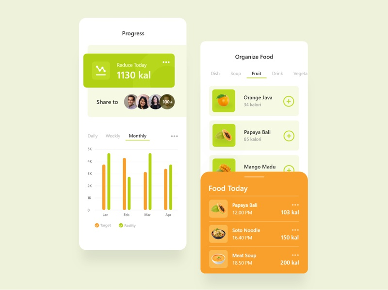 Application of Organizing Foods for Diets healthy fit orange green drink food analytic statistic diet fruit clean design brightcolor clean minimal ui ux