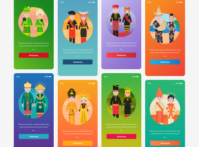 UI and Illustration for iLibrary App mobile gradient colorful regional indonesianculture culture indonesia user interface onboarding human clean design vector illustration