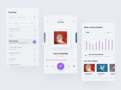 Exploration of Music Applications using the Neumorphism style uitrend trend gradient soft colors playlist music player music app ui music app bright color scheumorphism neumorphism soft ui music ui ux minimal vector clean design