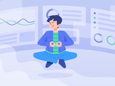 Mindful Millennials modern people human character dashboard calm meditation meditate mindfulness mindful website gradient bright color clean design minimal illustration vector