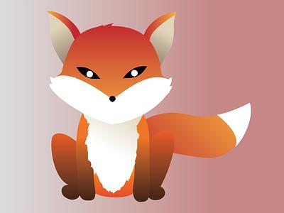Illustration of a fox gradient little fox foxi fox flat orange red illustration design cute animal