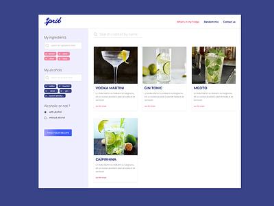 Cocktail creation page recipe alcohol bar cocktail ux web ui design