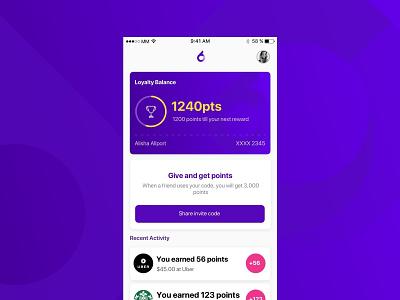 Earn points Loyalty UI ux ui dashboard card home screen app app concept ios gamification loyalty program loyalty card