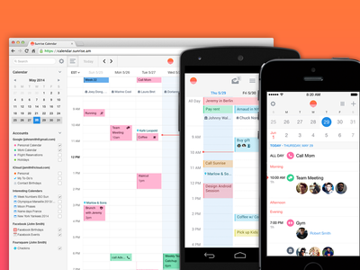 Sunrise Calendar on Android, iOS and Web sunrise calendar agenda schedule android ios iphone ipad web desktop