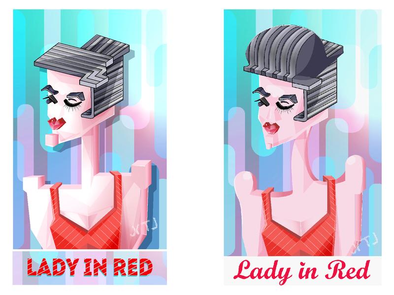illustration   Lady in red style woman design creativeart 2d digitalgraphics art illustration designcharacter digitalimage