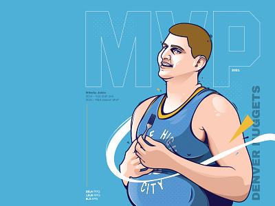 Nikola Jokic 2020/21 NBA MVP nuggets denver nuggets mvp jokic nba design print editorial illustration sport poster art wacom cintiq vector illustration