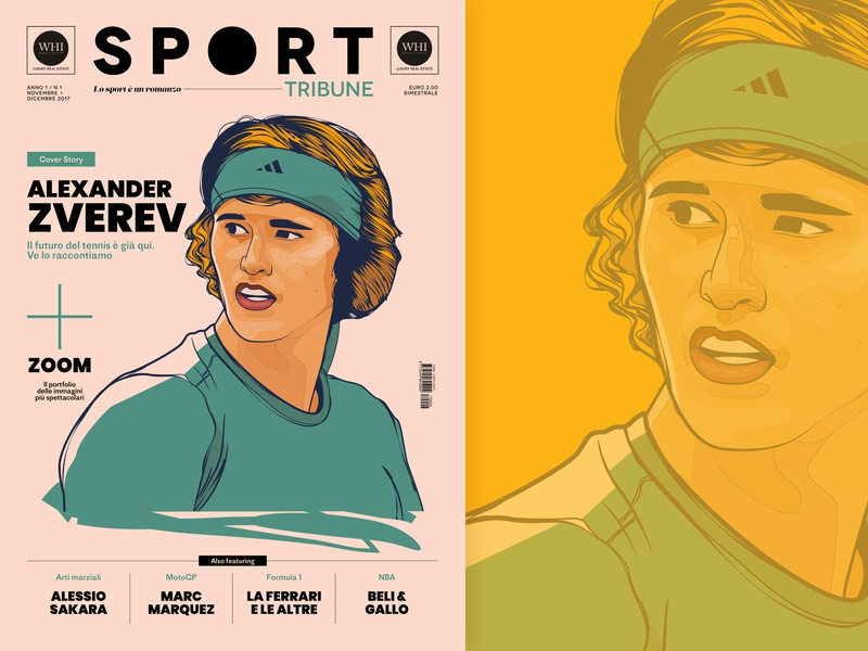 Sport Tribune Illustrations #1 - Cover tennis magazine illustration magazine cover sport editorial illustration vector wacom cintiq design illustration