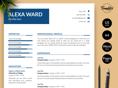 """Simple Resume for Word & Pages """"Alexa Ward"""" cv design references letter cover letter template resume for pages resume design creative resume simple design manager resume executive resume clean resume clean cv professional cv simple cv basic resume simple resume resume for word modern resume professional resume cv template resume template"""