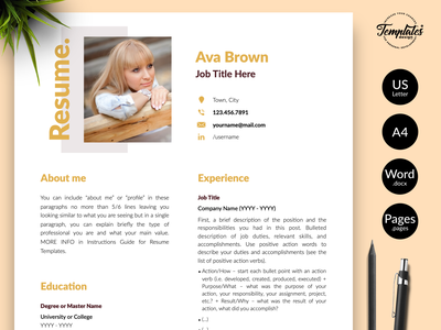 """Modern Resume for Word & Pages """"Ava Brown"""" resume template word resume for word modern resume professional resume resume for mac 3 page cv 2 page cv 1 page cv cv for female resume with cover resume downloadable template apple pages elegant resume pages elegant resume word modern resume word cv template resume template"""
