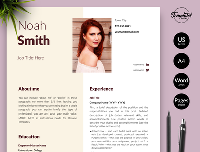 "Creative Resume for Word & Pages ""Noah Smith"" simple resume resume with photo curriculum vitae resume template word basic resume clean resume resume template creative resume modern resume professional resume resume for pages resume for word three page resume two page resume one page resume resume cv cv template"