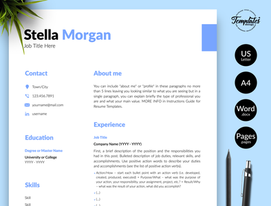 "Simple Resume for Word & Pages ""Stella Morgan"" modern resume resume template word resume for word cv template printable resume functional resume curriculum vitae cv template pages cv template word best modern resume three page resume two page resume one page resume cv design resume template simple resume word cv with cover"