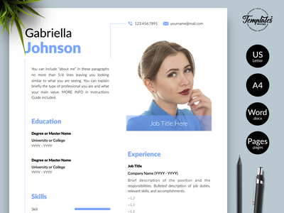 """Creative Resume for Word & Pages """"Gabriella Johnson"""" resume with photo curriculum vitae resume template word engineer resume resume cv clean resume resume template creative resume modern resume professional resume resume for pages resume for word three page resume two page resume one page resume cv template simple resume"""