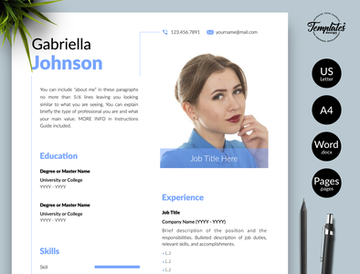 "Creative Resume for Word & Pages ""Gabriella Johnson"" resume with photo curriculum vitae resume template word engineer resume resume cv clean resume resume template creative resume modern resume professional resume resume for pages resume for word three page resume two page resume one page resume cv template simple resume"