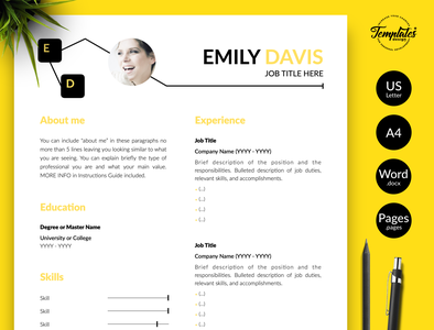 "Creative Resume for Word & Pages ""Emily Davis"" curriculum vitae resume with photo resume template word cv template resume with picture cv design word writer cv template journalist resume three page resume two page resume one page resume resume template creative resume modern resume professional resume resume for pages resume for word"