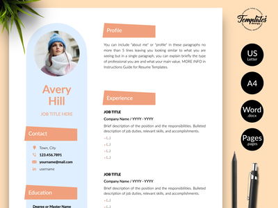"""Creative Resume for Word & Pages """"Avery Hill"""" curriculum vitae resume for word modern resume resume template cv with references references letter cover letter basic cv sample feminine cv format cv pages compatible cv word compatible creative cv design cv design and cover cv template cv instant download creative resume word resume template word"""