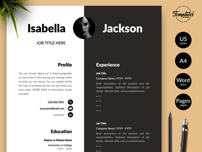 """Modern Resume for Word & Pages """"Isabella Jackson"""" resume template word resume for word modern resume cv template management resume 3 page resume 2 page resume 1 page resume cv for pages cv for word modern cv contemporary cv resume with picture executive resume manager resume professional resume resume template"""