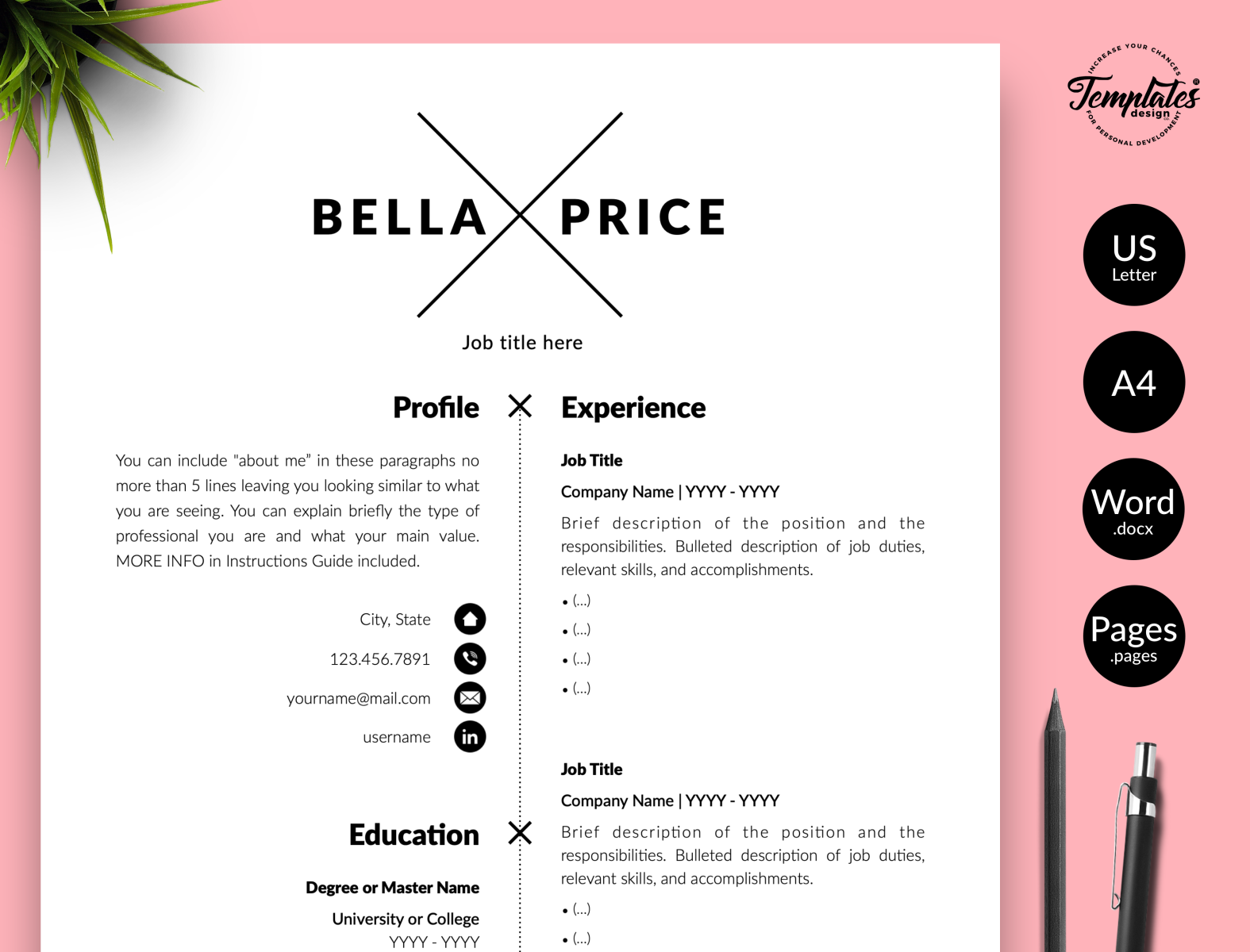 Simple Resume For Word Pages Bella Price By Templates Design