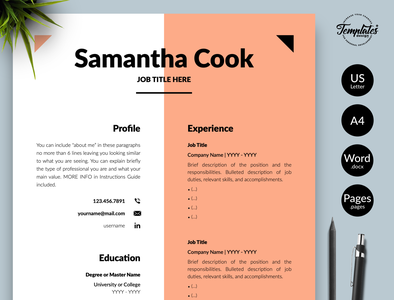 "Modern Resume for Word & Pages ""Samantha Cook"" modern cv curriculum vitae creative resume resume template word female resume cv feminine resume clean resume resume template modern resume professional resume resume for pages resume for word three page resume two page resume one page resume cv template simple resume"