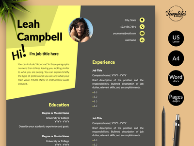 """Modern Resume for Word & Pages """"Leah Campbell"""" resume for word professional resume cv template resume template dark cv word cv resume cv resume editable word template dark resume template resume downloadable resume with cover minimalist resume modern resume word resume curriculum vitae resume template word instant download"""