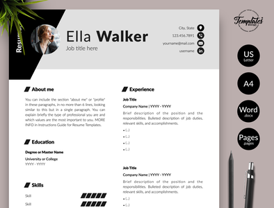 "Creative Resume for Word & Pages ""Ella Walker"" modern resume professional resume cv template resume template best cv template resume design word best resume word best resume template three page resume two page resume one page resume cv design for word cv design for pages modern resume design cv with photo creative cv photo"