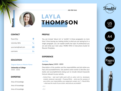 """Simple Resume for Word & Pages """"Layla Thompson"""" modern resume professional resume cv template resume template resume for word best resume template cv modern resume resume with cover perfect resume editable resume cv for pages cv for word clean resume basic resume resume template etsy simple resume any job position"""