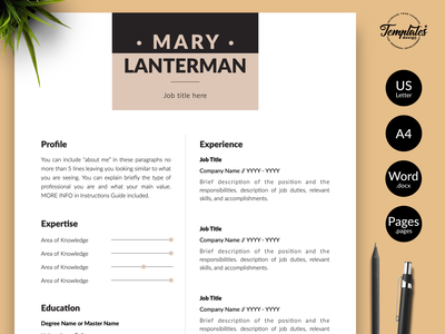"""Modern Resume for Word & Pages """"Mary Lanterman"""" resume template word professional resume cv template resume template resume for word elegant cv design apple pages resume word resume template 3 page cv 2 page cv 1 page cv creative cv template modern cv template modern resume cv format for pages cv template for word creative resume"""