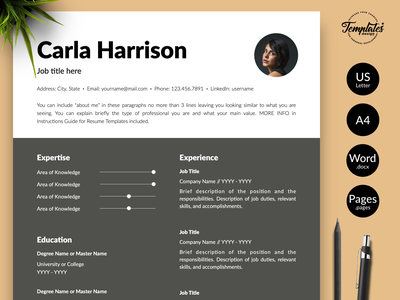 """Modern Resume for Word & Pages """"Carla Harrison"""" resume for word modern resume resume template cv template elegant resume accountant resume hr manager resume accounting resume simple resume 3 page resume 2 page resume 1 page resume resume design cv template for word modern cv resume with photo professional resume"""