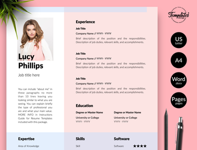 "Modern Resume for Word & Pages ""Lucy Phillips"" resume for pages curriculum vitae resume template word resume for word photo resume female resume resume with photo resume word feminine resume resume template creative resume modern resume professional resume three page resume two page resume one page resume cv template"