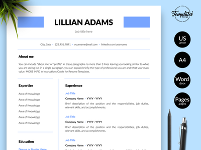 """Simple Resume for Word & Pages """"Lillian Adams"""" curriculum vitae resume for word resume template professional resume standard resume resume word cv design 3 page cv 2 page cv 1 page cv cv template resume cover letter resume template word classic resume clean resume basic resume simple resume"""