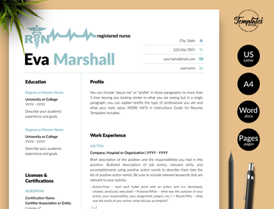 "Nurse Resume for Word & Pages ""Eva Marshall"" resume template word resume for word medical resume medical cv nursing resume nursing cv health care manager best nurse resume medical assistant nurse graduate medical cv template resume template rn registered nurse physician assistant nurse template word rn resume template medical resume word nurse cv template nursing resume word"