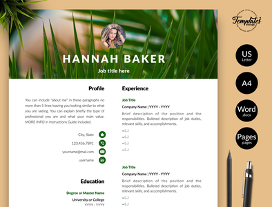 "Creative Resume for Word & Pages ""Hannah Baker"" resume template word professional resume resume for word nature cv template nature pattern resume resume and cover resume word research assistant biologist resume instant download resume design resume template creative resume modern resume three page resume two page resume one page resume cv template"