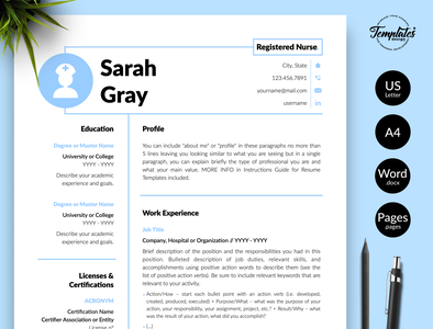 "Nurse Resume for Word & Pages ""Sarah Gray"" resume for word professional resume resume template cv template nursing cv student nurse resume doctor resume word nurse practitioner experienced nurse nurse graduate medical cv template registered nurse nurse template word rn resume template medical resume word nurse cv template nursing resume word"