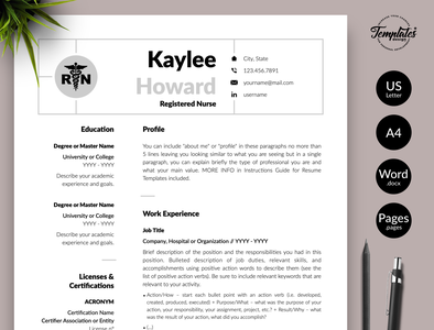 "Nurse Resume for Word & Pages ""Kaylee Howard"" resume template word resume for word professional resume cv template simple nurse resume nursing graduate health care manager medical assistant medical cv template resume template rn registered nurse physician assistant nurse template word rn resume template medical resume word nurse cv template nursing resume word"