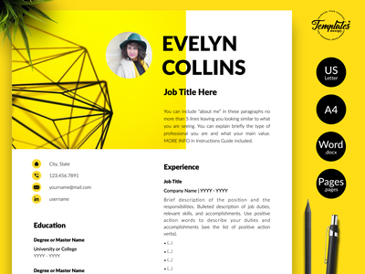 """Modern Resume for Word & Pages """"Evelyn Collins"""" resume with cover resume with photo resume template resume template word professional resume curriculum vitae civil engineer cv data analyst resume engineering resume engineer resume three page resume two page resume one page resume resume for word cv template modern resume creative resume"""
