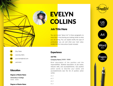 "Modern Resume for Word & Pages ""Evelyn Collins"" resume with cover resume with photo resume template resume template word professional resume curriculum vitae civil engineer cv data analyst resume engineering resume engineer resume three page resume two page resume one page resume resume for word cv template modern resume creative resume"
